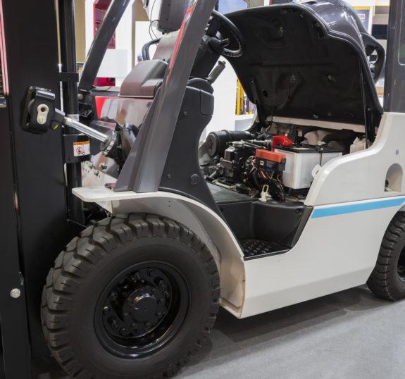 The Forklift truck shown engine under seat